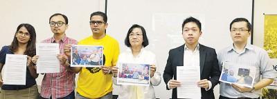 曼迪星(左3起)、玛丽亚陈、廖文轩与净选盟代表一同召开记者会。