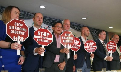 """一小群欧洲议员周一以马尼拉举行记者会谴责菲律宾的""""毒战争""""。"""
