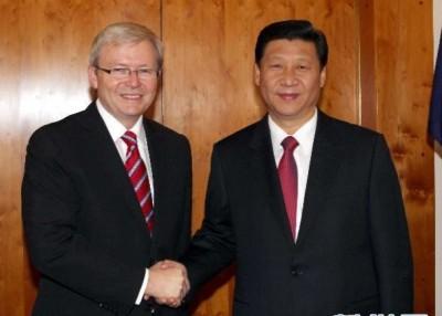 陆克文(左)认为习近平(右)的世界观是重要课题。