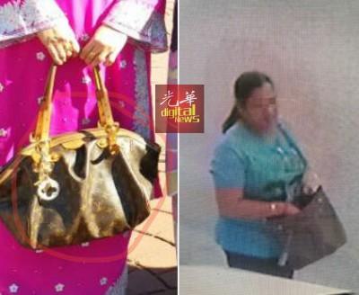 """店主平常出门时,都随身带著名贵手提袋。(右)""""就在这里,印妇卷走拿督胞姐名贵手提袋。"""""""