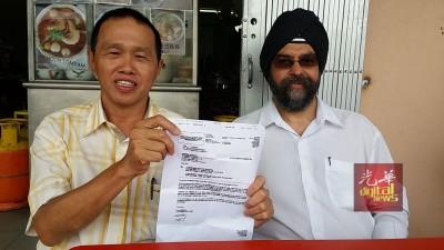 姚天和(左)冀苏家斌尽快缴付约3万令吉的赔偿金,否则将于11月16日在其律师、法庭官员到其位于湖景园住家进行查封行动。(右为)沙南吉星。