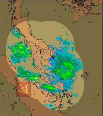 气象局发布一张雷达所探测的图像,青色与黄色代表的是当地会有豪雨。