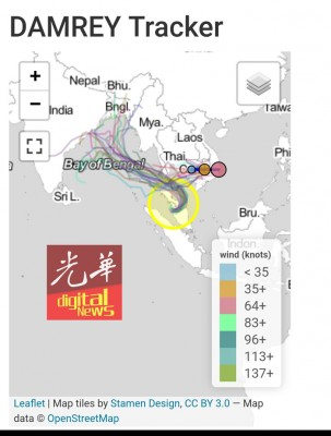 从画面上显示,台风袭击越南及泰南一带后,尾巴不偏不倚地落在北马一带。