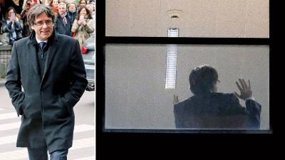 普伊格登莫尼特在办公室内接受了长久的盘问。(法新社照片)