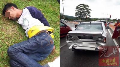 (左)涉嫌偷车的男嫌犯在公众协助下被活擒。(右)一辆华惹轿车被男嫌犯驾驶的轿车撞及后部。