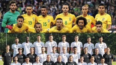 巴西(上图)同德国(下图)凡是世界杯夺冠热门队。