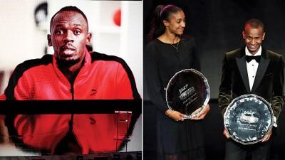 博尔特(左)缺席颁奖礼,仅出现在视频。巴希姆(右)和蒂亚姆分别获得年度最佳男女运动员。