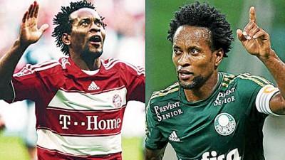 泽·罗伯托当年效力拜仁(左),如今效力帕尔梅拉斯(右)。