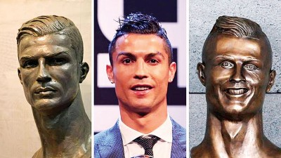 C罗纳多的新旧铜像的真实度天壤之别。