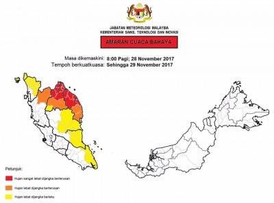 """气象局对丹登两州部分地区发出红色的""""危险""""天气警报。"""