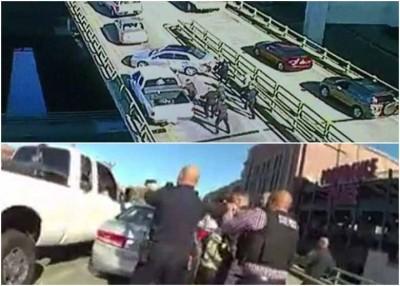 警方于公路上围堵桑托斯的白色车辆。