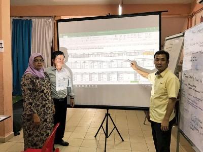 左起麦姆娜、曹观友及尤端祥公布有关水灾垃圾量最新的消息。