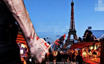 """2张宣传海报都以英文、法文及德文写道""""Soon in your holidays!""""的口号。"""