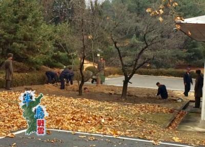朝鲜士兵在变节同袍下车逃跑的地点挖掘壕沟.