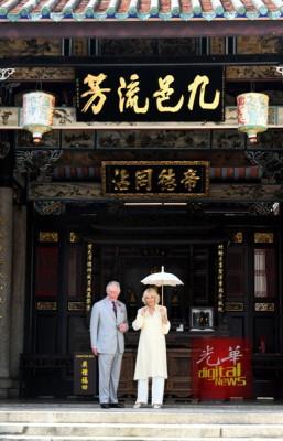 韩江家庙-王储伉俪在古色古香的韩江家庙内留影,别具魅力。