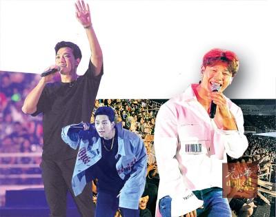 """(左)宝刀未老的Rain为观众带来多首舞曲。(右)金钟国献唱甜蜜的""""讨人喜欢""""歌曲,引起全场女生的悸动!"""