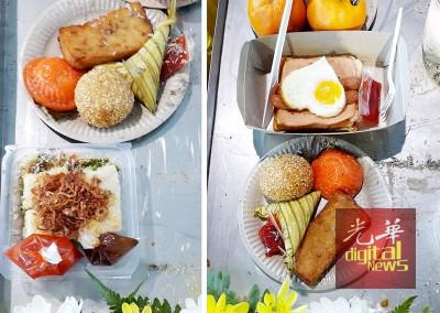 灵堂摆满4死者生前最爱食物,包括芋头糕及糕点,西式早餐以及猪肠粉等。