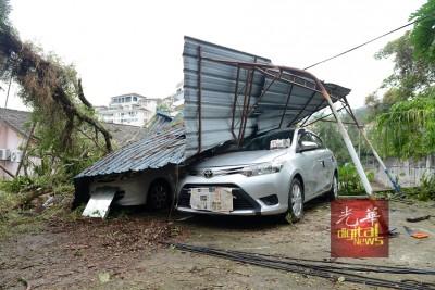 80年老树压在一户住家,导致屋梁断裂、天花板摇摇欲坠,也压砸在2辆轿车上,以致大镜爆裂。
