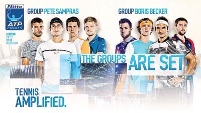 ATP男子网球世界巡回赛年终总决赛海报印有抽签形势及参赛球星的照片。