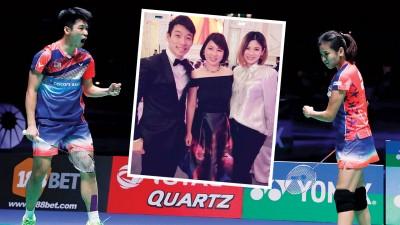 陈炳顺(左)与吴柳莹(右)一同出席陈蔚强的婚宴,迎来久违的合照。