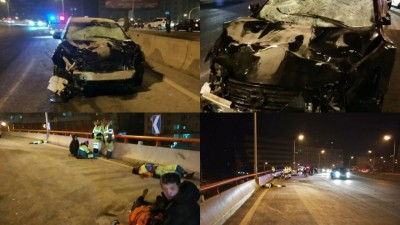 问题至少导致5怪2危。肇事的黑色轿车车头严重损毁。