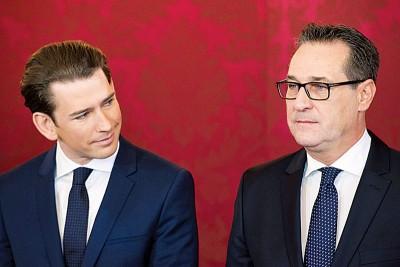 库尔茨(左)拉拢自由党领袖斯特拉赫合组联合政府,令外界担心奥地利政策严重右倾。(法新社照片)