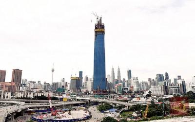 (吉隆坡26天讯)全马高的大厦、在于敦拉萨国际贸易中心的106市塔建筑工程正如火如荼地开展。