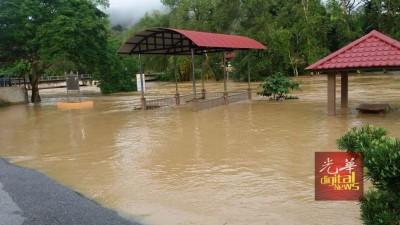 彭亨劳不峇都马林来水灾,方便卑河上危险水平,水位持续上升。