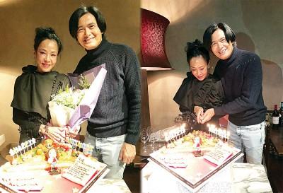 周润发为老婆陈荟莲庆祝58岁生日。
