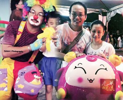 (左)他是孩子的大玩偶。(右)童心未泯的汉明和秀晶,喜欢和卡通打成