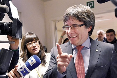 普伊格登莫尼只是自言此次选举是独派之取胜。(法新社照片)
