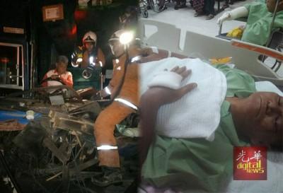 (左)解除拯人员正营救被轧在司机座之厂子巴司机。(右)工厂巴司机左脚骨折。
