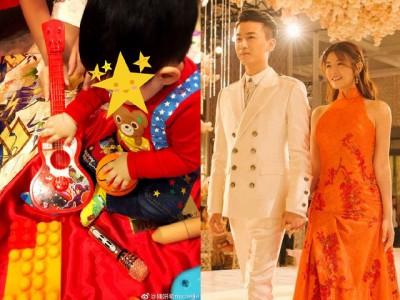 陈妍希(右图右起)与陈晓所生的儿子小星星满周岁。