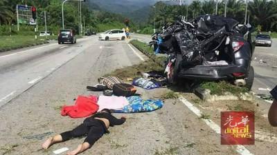 死者遗体被撞到飞弹出车外,气象骇人。