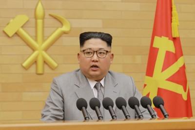 金正恩在年节贺词中于韩国自由出善意。(法新社照片)