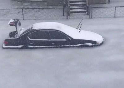 """汽车被困在""""冰河""""中。"""