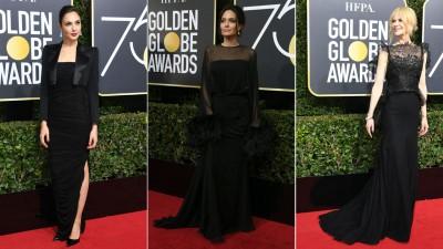 """(左起)""""神力女超人""""盖尔加朵(Gal Gadot)过俐得到的Tom Ford。几度替女权发声的安祖莲娜祖莉(Angelina Jolie)啊为华丽黑礼服登场。新科视后妮歌洁曼(Nicole Kidman)摘黑色蕾丝剪裁。"""