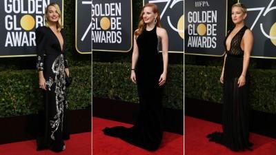 """(左起)""""小丑女""""玛格罗比(Margot Robbie)黑色礼服现身不忘大起来着门!清洁西卡雀丝坦(Jessica Chastain)慎选穿Armani Prive,以红毯获得好评。琦韩逊(Kate Hudson)过上黑色网状透视礼服。"""