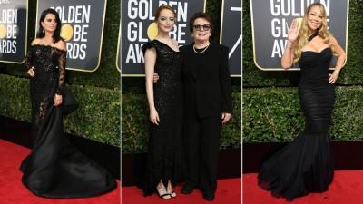 """(左起)彭女儿露古丝(Penelope Cruz)优雅走红毯。艾玛史东(Emma Stone)请网球传奇运动家Billie Jean KIng同参与盛会。""""花蝴蝶""""玛丽嘉儿(Mariah Carey)因为同样袭黑色爆乳装搭配贵重珠宝闪耀红毯,它前阵子透过手术铲肉11kg,以星光大道炫耀她的S曲线。"""