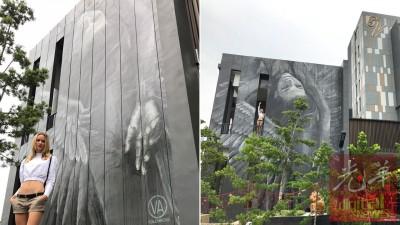 茱莉亚利用10天在Vangohh Eminent 15米高墙壁画上《天使的蜕变》。