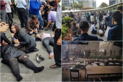 交易所大批伤者倒在地上。