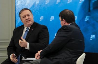 美国中央情报局局长蓬佩奥在运动及讨论朝鲜半岛局势。(法新社照片)