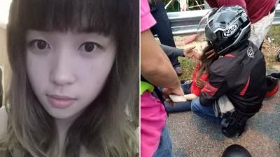 许永达在脸书上载妻子(左)事发时照片,希望有目击者提供线索。