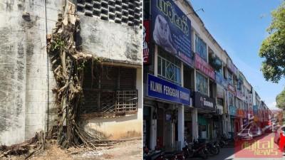 """(左)商店后的这棵树干,可能是被窃贼用以爬上屋顶的""""工具""""。(右)米都太子路过港商业区宵小偷窃情况存在已久,惟近来爆窃事件日渐猖狂,单单在今年1月份,已 发生至少7宗破门行窃案。"""