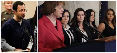 美国民主党籍参议员黛安·旗帜斯坦(右图左一)带着四名已经被队医拉里·受萨尔(左图)性侵的体操成员多米尼克·从未恰努(右图左二从)、安托林、丹泽雪儿、玛蒂·拉森出席新闻发布会。