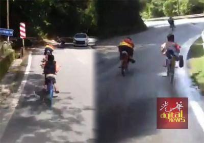 """(左)飙车童在极限的离避开迎面路的小汽车。(右)""""飙车童""""架空双脚以一流的架势骑车,啊占反方向车道。"""