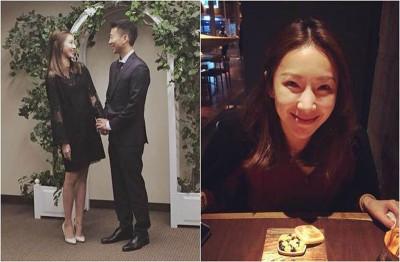 隋棠和老公庆祝结婚3周年,并首度分享当年公证结婚照片(左图)。