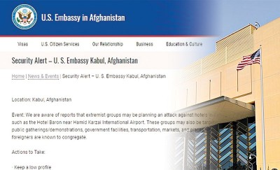 使馆(右)事先一度表示喀布尔的小吃摊或会变成袭击目标。