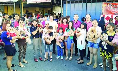 狗主抱着9只参赛的可爱狗狗,与蔡天喜(左起)、沈素云、陈伟聪及章慕沙合影。