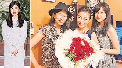 (左)方文琳长女于齐优昨日与民视金钟剧《微笑·泪》开镜。(右)方文琳同2单姑娘感情绝佳。